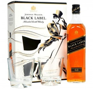 JOHNNIE WALKER BLACK LABEL WHISKY 0,7L - 2 SZKLANKI + KARTONIK